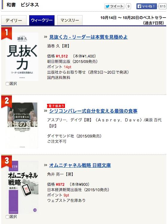 紀伊國屋書店全店の週間ランキングで「オムニチャネル戦略」第3位